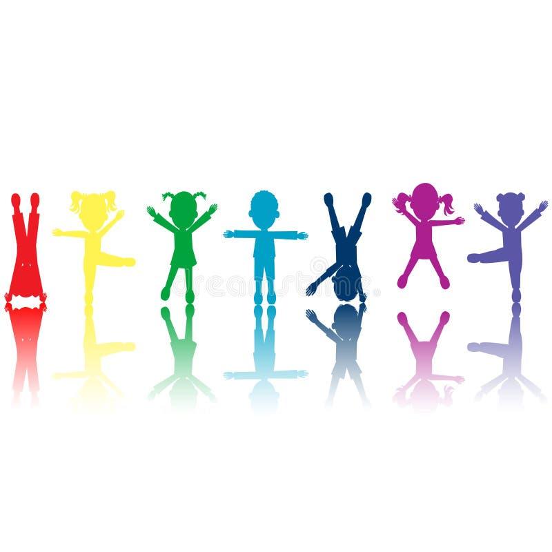 Gruppe farbige Kindschattenbilder stockfotos