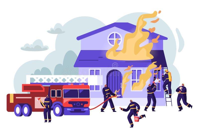 Gruppe Feuerwehrmänner, die mit Blaze Working als Team kämpfen, um mit großem Feuer an brennendem Haus, Feuerwehrmann-LKW zu kämp lizenzfreie abbildung