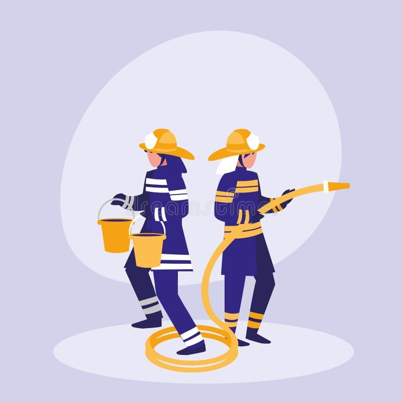 Gruppe Feuerwehrmänner mit Eimern und Schlauch stock abbildung