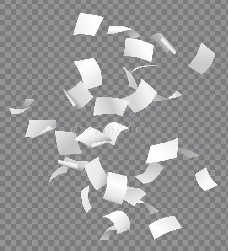Gruppe Fliegen oder fallende Weißbücher auf Transport lizenzfreie abbildung