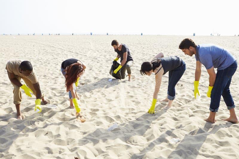 Gruppe Freiwilligen, die Abfall auf Strand aufräumen lizenzfreie stockfotos