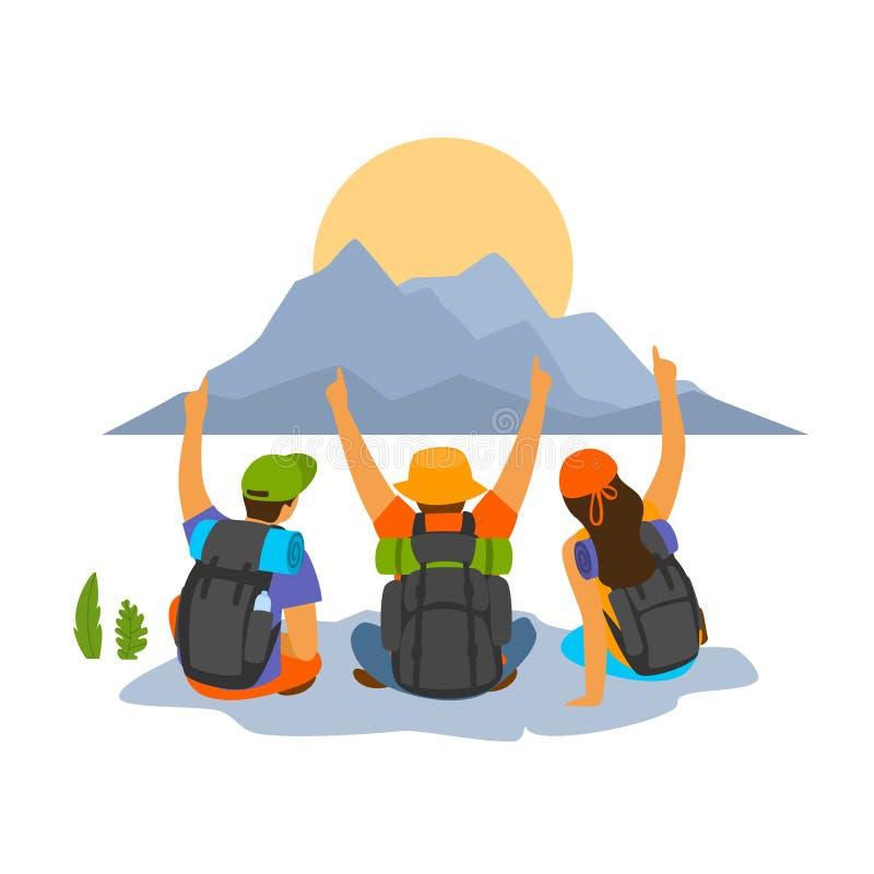 Gruppe Freunde der jungen Leute, die erfolgreiche wandernde Expedition feiern lizenzfreie abbildung