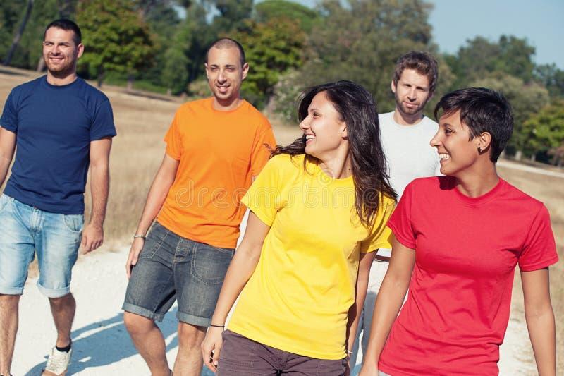 Gruppe Freunde, die draußen gehen lizenzfreies stockfoto