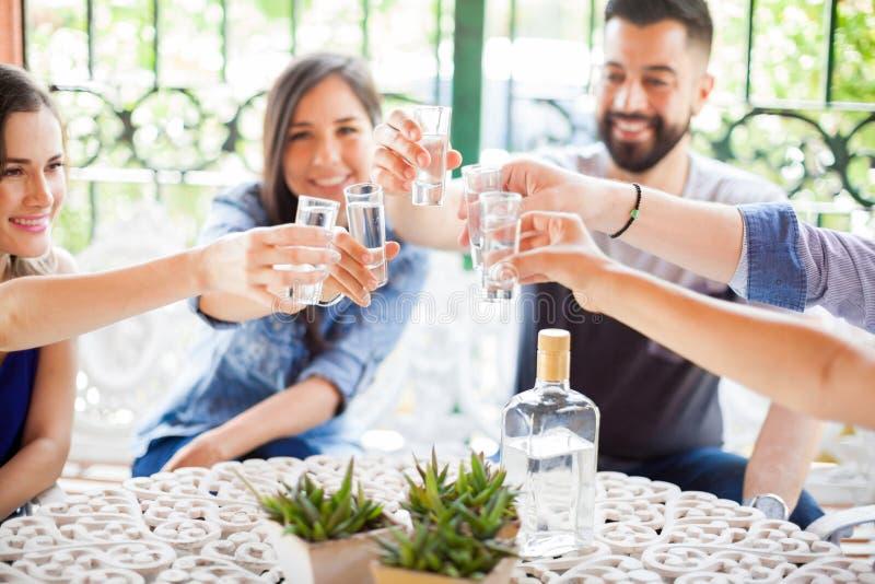 Gruppe Freunde, die einen Toast mit Tequila machen stockfotos
