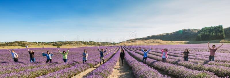 Gruppe Freunde, die in Folge auf einem Lavendelgebiet stehen stockfoto