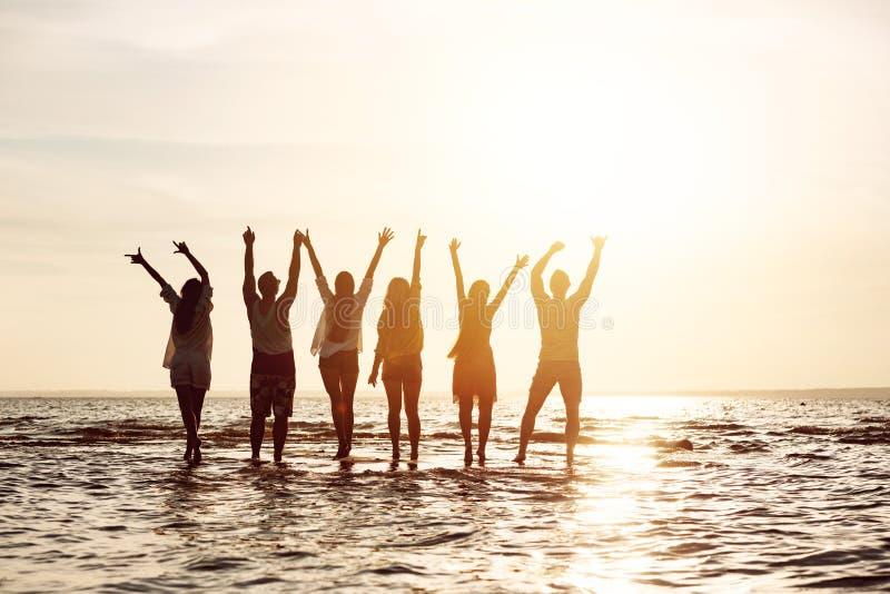 Gruppe Freunde, die Spaß haben und Sonnenuntergang grüßen lizenzfreie stockfotos