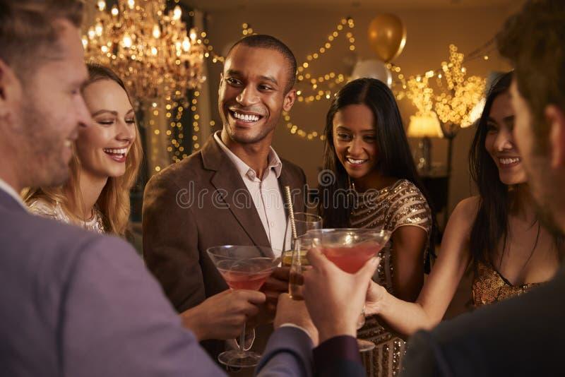 Gruppe Freunde mit Getränken Cocktailparty genießend stockfotografie