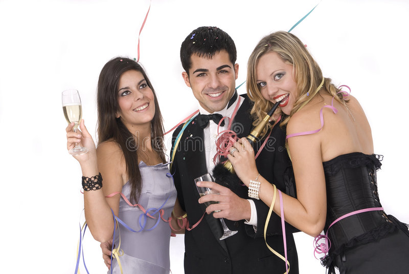 Gruppe Freunde an neuen Jahren party lizenzfreie stockfotos
