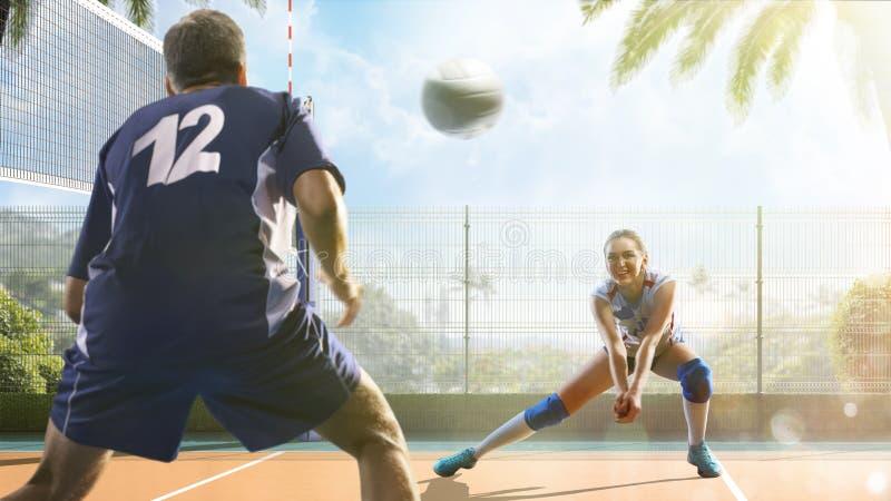 Gruppe Freunde spielt Volleyball am sonnigen Tag lizenzfreie stockfotos