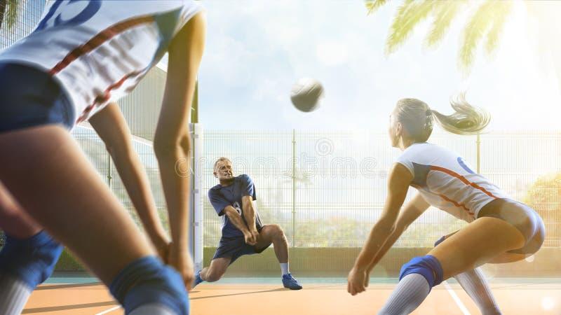Gruppe Freunde spielt Volleyball am sonnigen Tag lizenzfreie stockfotografie