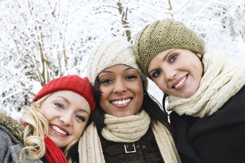 Gruppe Freundinnen draußen im Winter stockfotografie