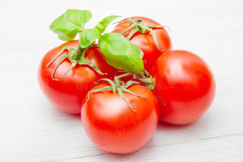 Gruppe frische resd Tomaten mit Basilikum stockbilder