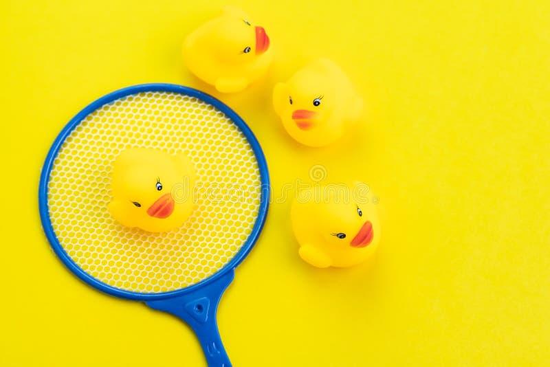 Gruppe gelbe nette Gummienten mit der ausgesuchter im netten kleinen Kescher auf festem gelbem Hintergrund mit als Suchen oder stockfotografie