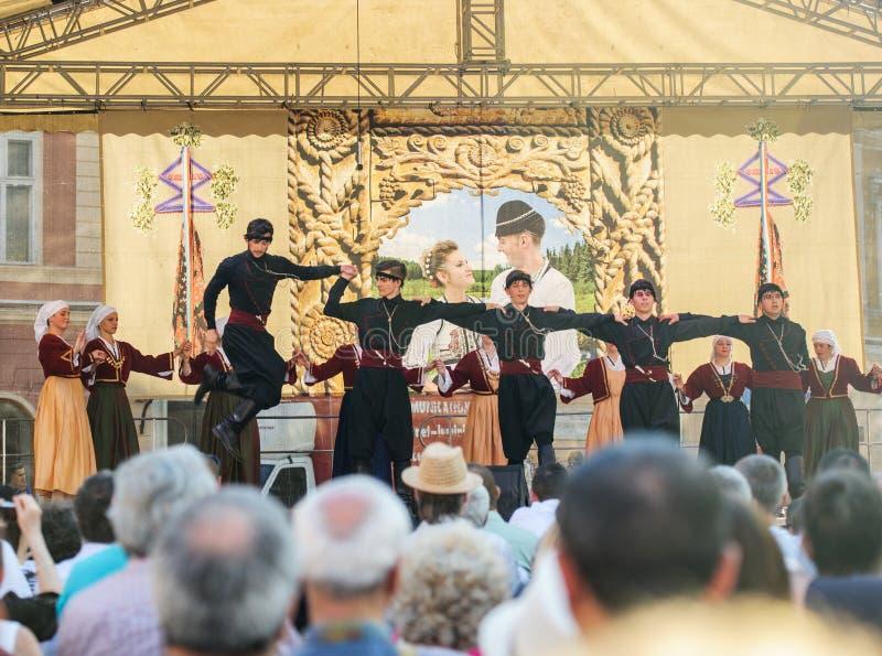 Gruppe georgische Tänzer, die eine Folklore tanzen, tanzen lizenzfreies stockfoto