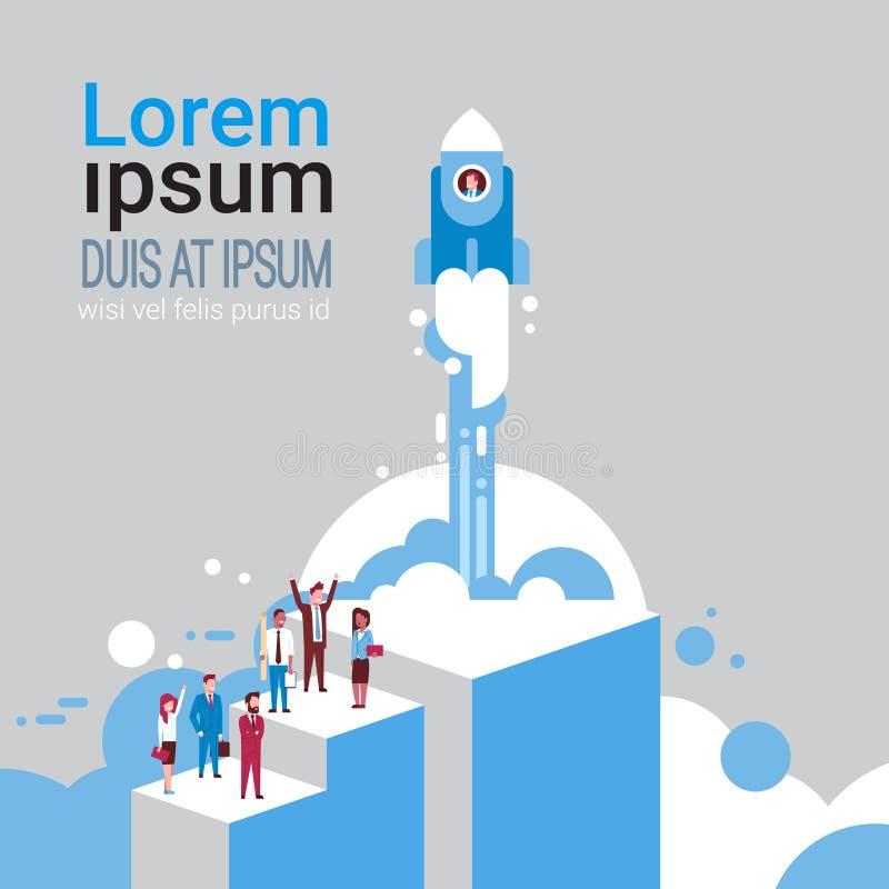 Gruppe Geschäftsleute über Fliegen-Raum Rocket Startup Idea Creation Concept isometrisch lizenzfreie abbildung