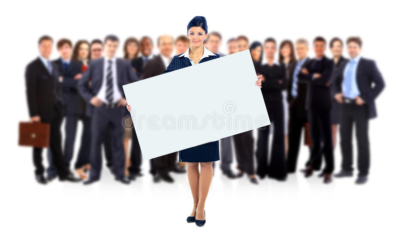 Gruppe Geschäftsleute, die eine Fahnenanzeige lokalisiert auf Weiß halten lizenzfreies stockfoto