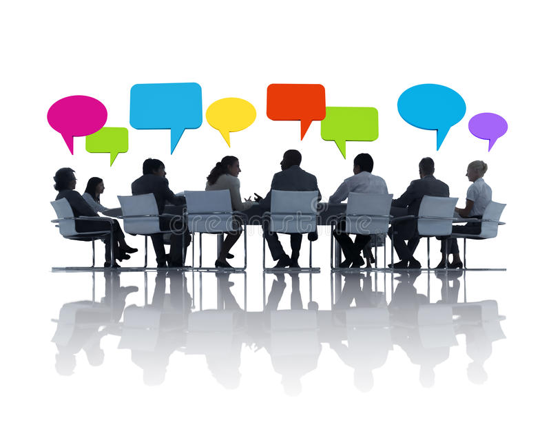 Gruppe Geschäftsleute, die Ideen teilen lizenzfreies stockbild