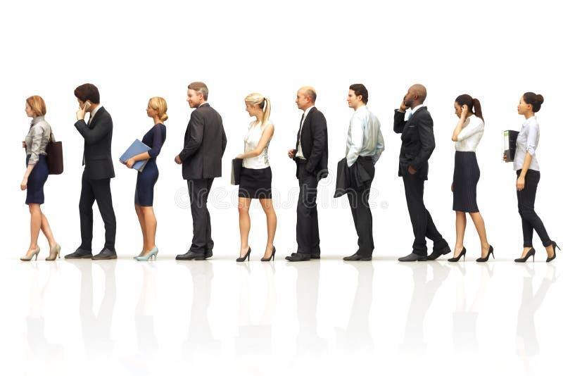 Gruppe Geschäftsleute Schlangestehen auf einem weißen reflektierenden Hintergrund lizenzfreie abbildung