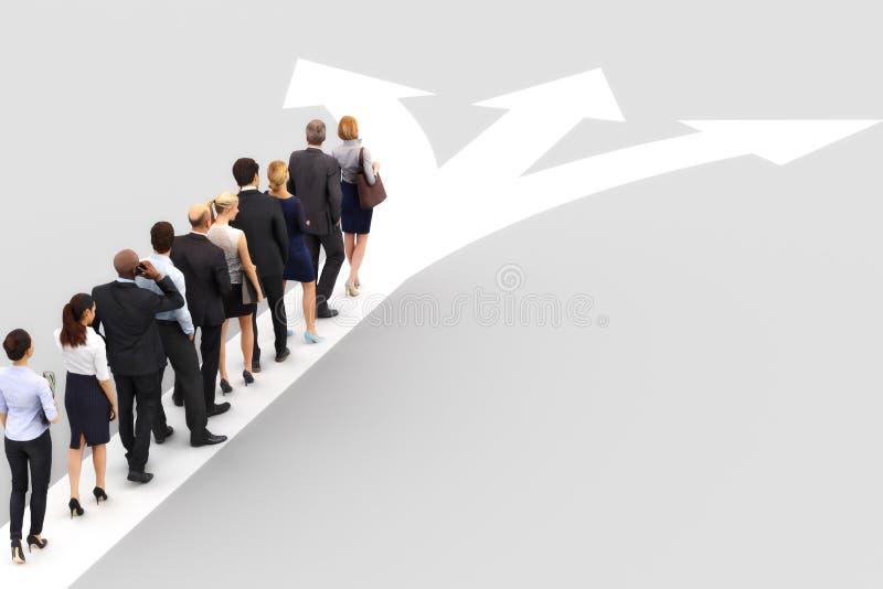 Gruppe Geschäftsleute Schlangestehen wartend, um eine Richtung zu wählen Wählen eines Geschäftsbestimmungsortes oder -beruflichen lizenzfreie abbildung