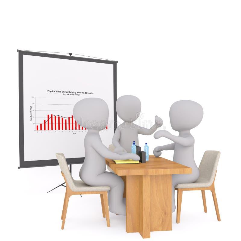 Gruppe Geschäftsmänner 3d in einer Sitzung vektor abbildung