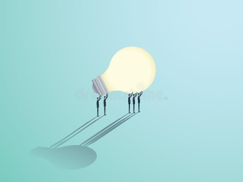Gruppe Geschäftsmänner, die eine Glühlampe tragen Vector Symbol der Geschäftskreativität, -innovation und -brainstorming stock abbildung