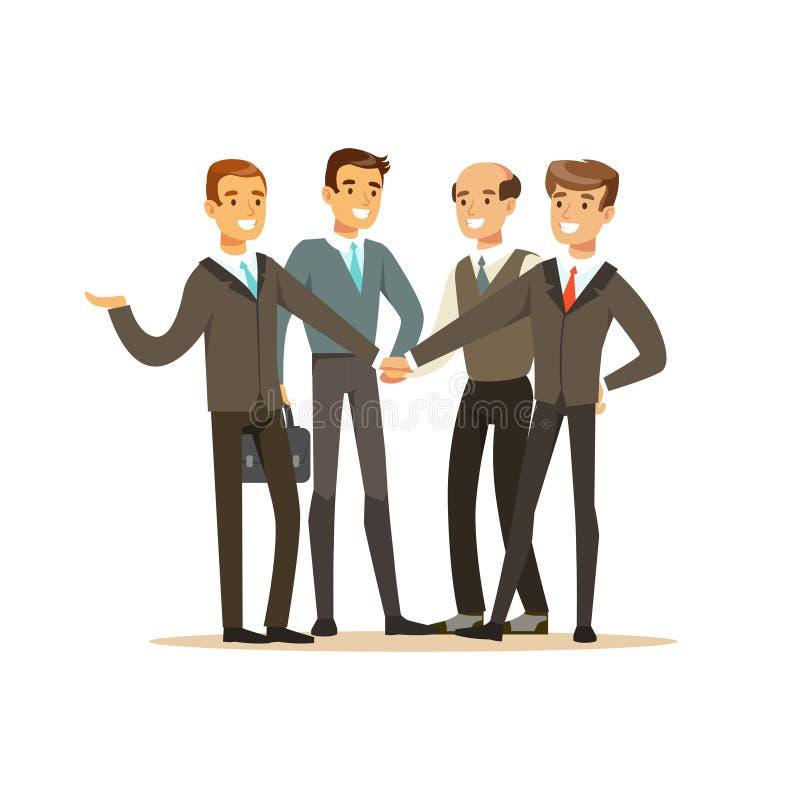 Gruppe Geschäftsmänner, die Sitzung in Bürovektor Illustration haben stock abbildung