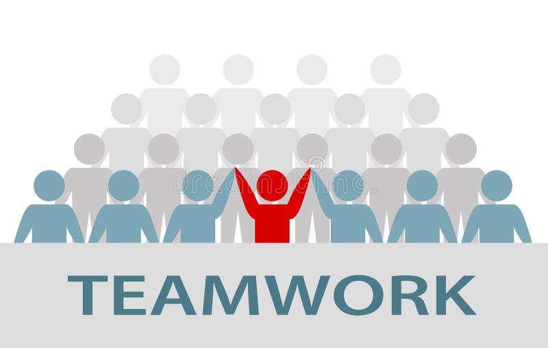 Gruppe Geschäftsmann- und Geschäftsfrauleute, Teamwork-Kunstwerk lizenzfreie abbildung