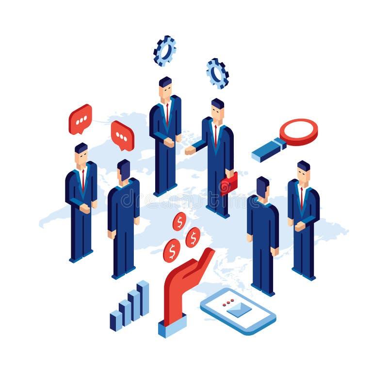 Gruppe Geschäftsmannleute schließen Partnerschafts-Kommunikationskonzept des Abkommens erfolgreiches lizenzfreie abbildung