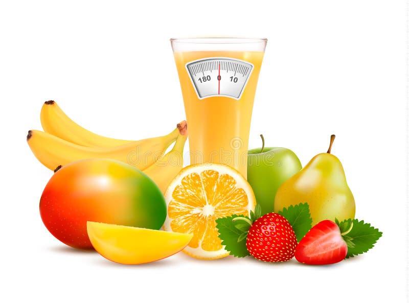 Gruppe gesunde Frucht. Diätkonzept. lizenzfreie abbildung