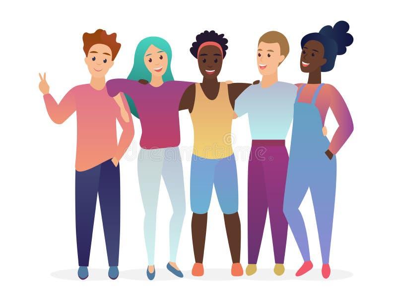 Gruppe glückliche Aufstellungs-, Umarmen und Unterhaltungsfreunde der Junge fünf Leute zusammen Freundschaft Modischer Steigungsf vektor abbildung