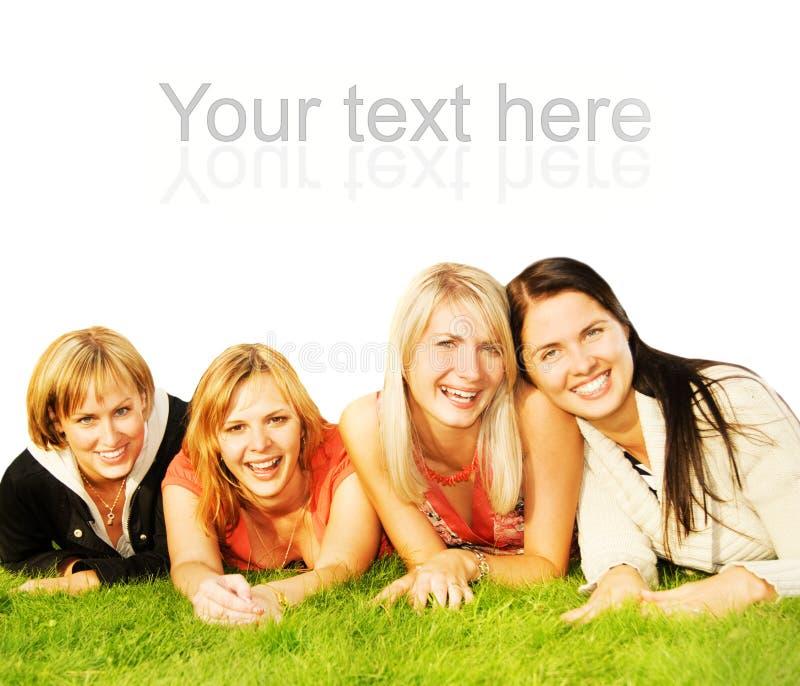 Gruppe glückliche Freunde lizenzfreie stockbilder