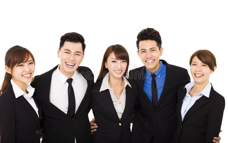 Gruppe glückliche Geschäftsleute lokalisiert auf Weiß lizenzfreie stockfotografie