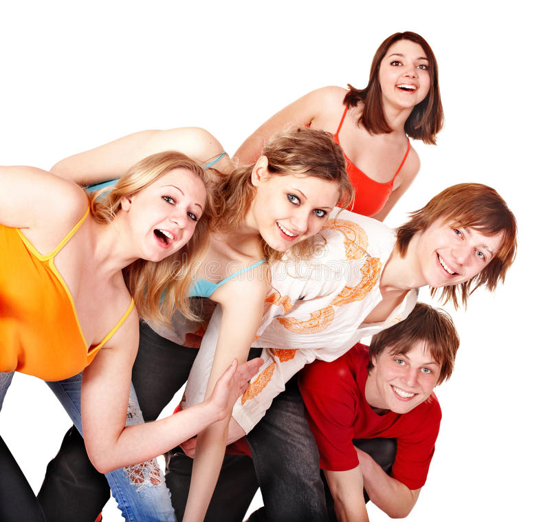 Gruppe glückliche junge Leute. stockbild