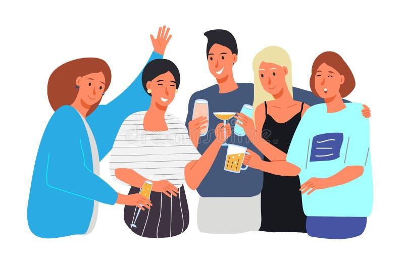Gruppe glückliche junge vier Leute, sorglose Jungen und Mädchen klirren und trinken Alkohol an einer Partei stock abbildung