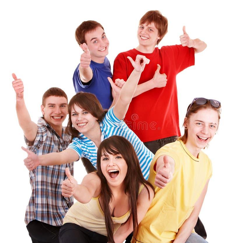 Gruppe glückliche Leute mit thums oben. stockbilder