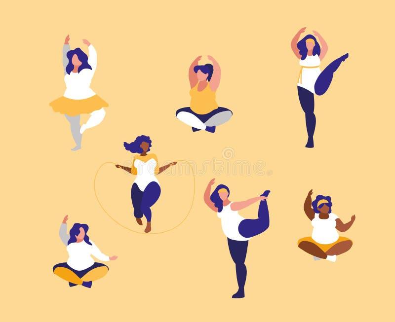 Gruppe große Frauen, die positive Befugnis des Körpers ausüben stock abbildung
