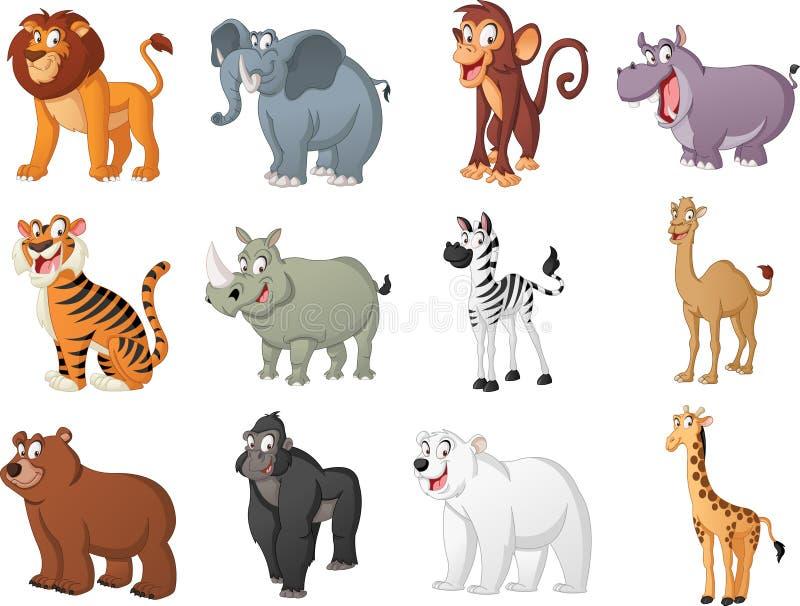 Gruppe große Karikaturtiere Vektorillustration von lustigen glücklichen Tieren stock abbildung