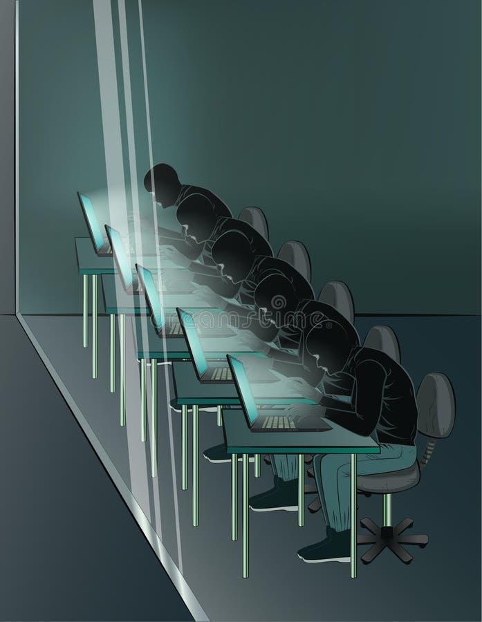 Gruppe Häcker sitzt an den Laptops im Thraum, vertikale Vektorillustration vektor abbildung