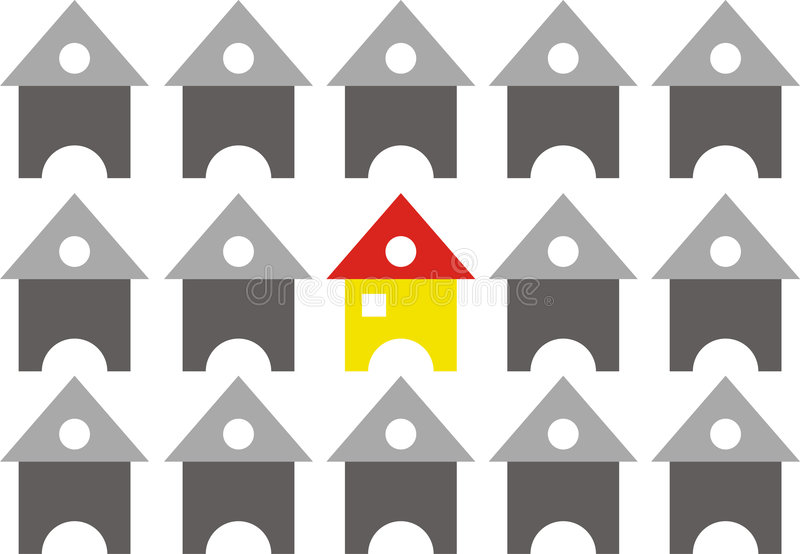 Gruppe Häuser angeordnet in der Reihen-Anordnung stock abbildung