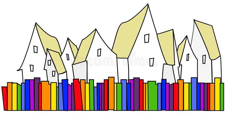 Gruppe Häuser mit Regenbogenzaun in der Front lizenzfreie abbildung
