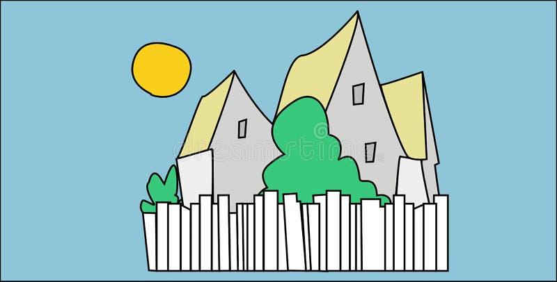Gruppe Häuser, Zäune und Anlagen mit blauem Himmel und Sonne lizenzfreie abbildung