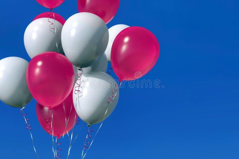 Gruppe Heliumballone mit Bändern auf blauem Himmel vektor abbildung