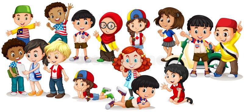 Gruppe internationale Kinder stock abbildung