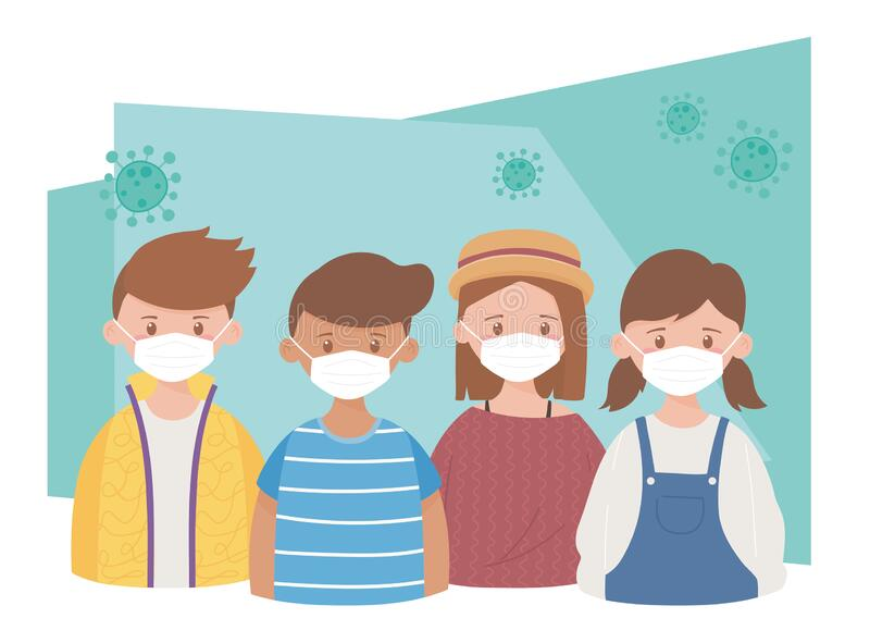Gruppe Jugendliche mit Schutzmasken, Coronavirus Pandemic Covid 19 lizenzfreie abbildung