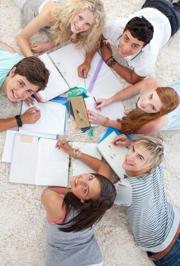 Gruppe Jugendlichen, die zusammen studieren stockfotografie