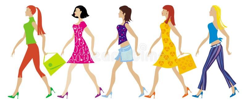 Gruppe junge Damen vektor abbildung
