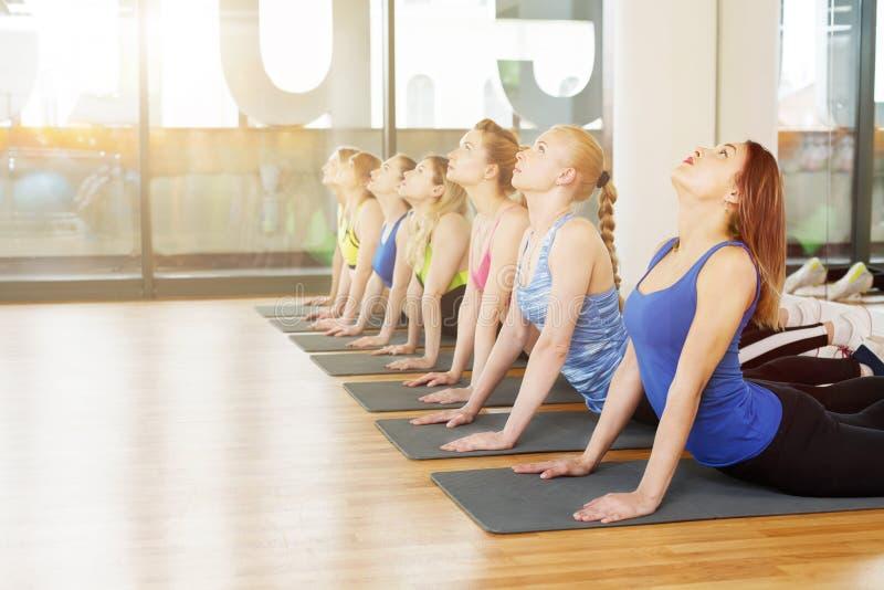 Gruppe junge Frauen in der Yogaklasse stockfotos