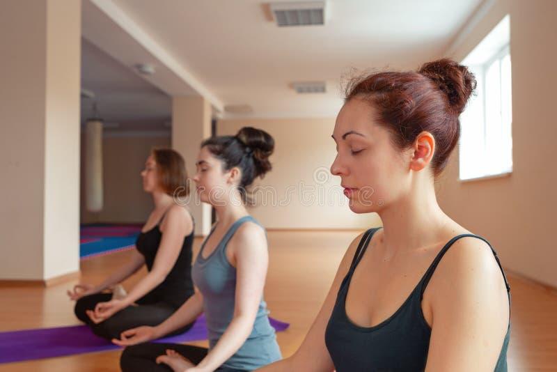Gruppe junge Frauen, die Meditation in der Yogaklasse tun Entspannen Sie sich und maditation stockbild