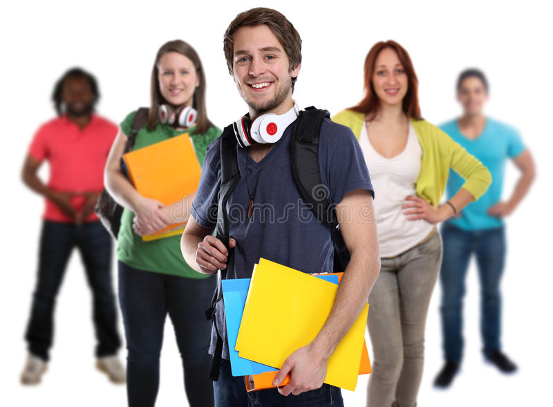Gruppe junge lächelnde Leute der Studenten lokalisiert lizenzfreies stockbild
