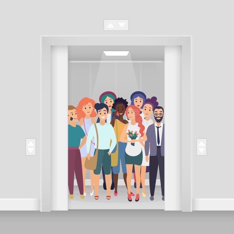 Gruppe junge l?chelnde Leute mit Telefonen, Taschen, Blumen im hellen beleuchteten modernen gedr?ngten Aufzug mit offenen T?ren lizenzfreie abbildung